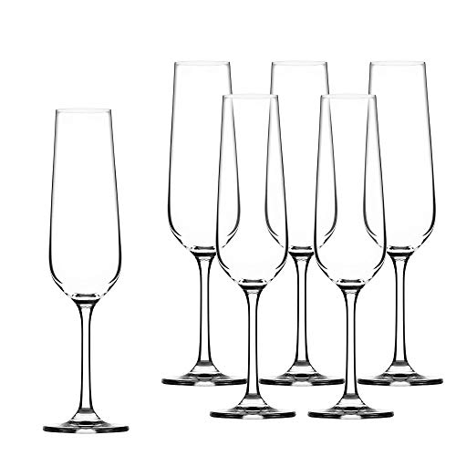 KADAX Sektgläser, 6er Set, 200ml, Sektflöten für zu Hause, Party, Hochzeit, Moderne Sektkelche, Bequeme Champagnergläser mit hohe und Enge Stiel, transparent