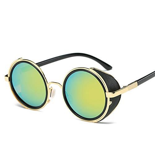 GJYANJING Sonnenbrille Sonnenbrille Frauen Runde Brille Männer Seitenvisier Kreis Objektiv Unisex Vintage Retro Style Sonnenbrille