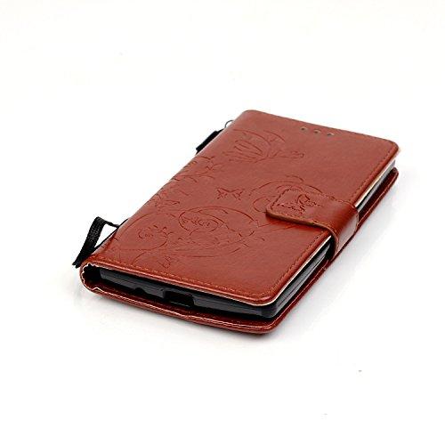 Camiter Prägung Schmetterling Wallet Case Schutzhülle Standfunktion Handytasche Hülle Magnetverschluss Klapp Brieftasche Lederhülle Weich Silikon Skin Back Cover für Apple iPhone 4 /4S (Gold) + Freies Brown