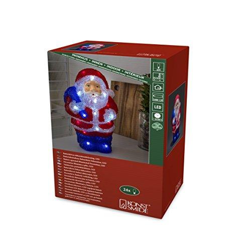 Konstsmide 6149-203 LED AcrylfigurWeihnachtsmann / für Außen (IP44) / VDE geprüft/Batteriebetrieben: 3xAAA 1.5V (exkl.) / 24 kalt weiße Dioden/transparentes Kabel