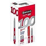 علبة أقلام برافو 100 من ساسكو - عدد 25 قلم - أحمر