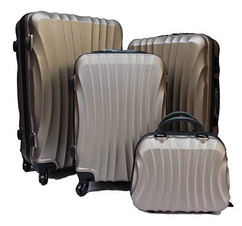 R.Leone Valigia Fino a Set 4 Trolley Rigido grande, medio, bagaglio a mano e beauty case 4 ruote in ABS 2037 (Oro, Set 4 XS S M L)
