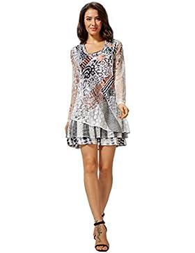 Sybell Camisa de las señoras del otoño blusa ocasional de cuello redondo de manga larga de la tapa del vestido...