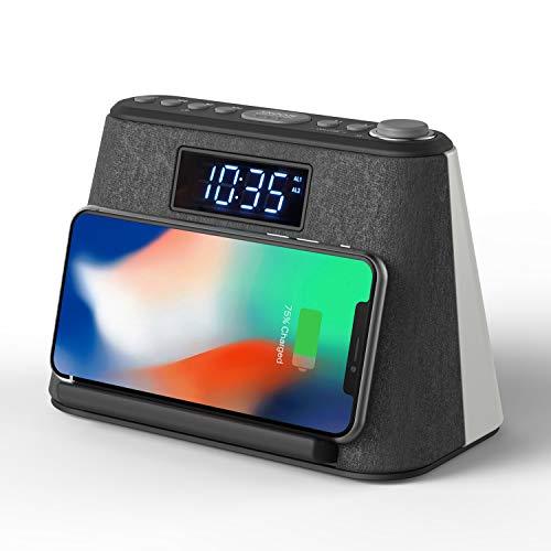 Radiowecker Funkuhr Digital mit FM Radio, Wireless Charger, Nachtlicht Dimmbar mit RGB Farbwechsel, Bluetooth Lautsprecher, LED-Anzeige mit Dimmer und White Noise