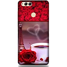 Yashas Slim Fit Designer Plastic Printed Case Cover for Huawei Honor 7X (Eiffel Tower & Cup With Red Rose)
