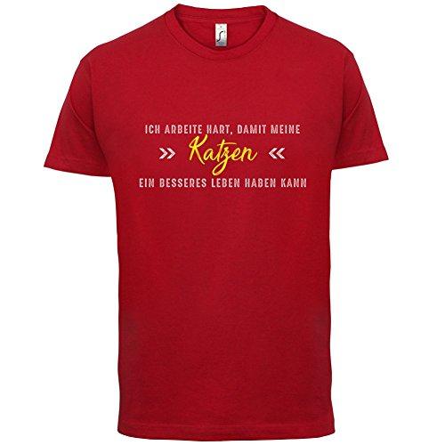 Ich arbeite hart, damit meine Katzen ein besseres Leben haben kann - Herren T-Shirt - 12 Farben Rot