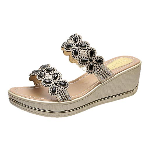 Binggong Damen Sandalen Keilabsatz Hausschuhe Pantoletten Peep Toe Strand Reise Schuhe Sandale Weibliche Komfortable Sommer Flip Flops Strandschuhe -