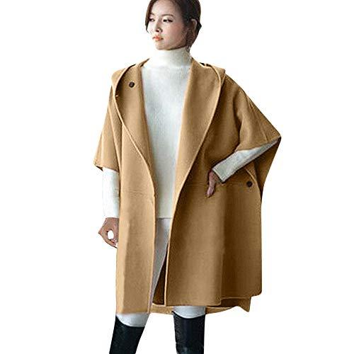 Sammoson 3 in 1 cappotti invernali da donna, donna poncho in lana sciolto con mantella invernale cappotto invernale in caldo mantello mantella parka outwear, cappotto donna color cammello con c