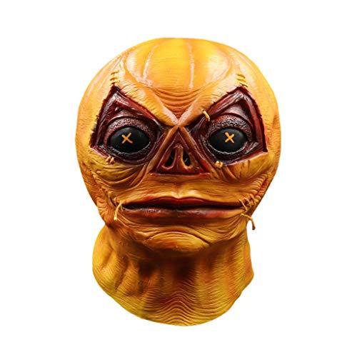 Foroner Kürbis-Stil Maske Schmelzen Gesicht Erwachsene Latex Kostüm Halloween Beängstigend (Orange)