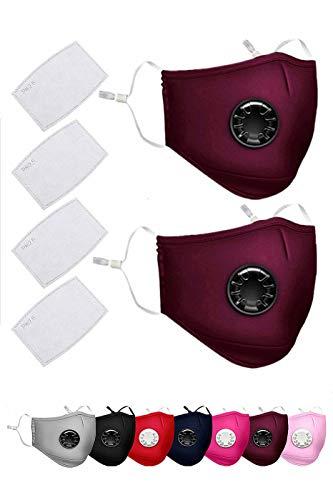 Wookit Paquet de 2 masques antipollution PM 2.5 avec 4 filtres à air en coton respirant réutilisable masque respiratoire anti-fumée N95 anti-poussière avec sangles réglables-Jujube Red