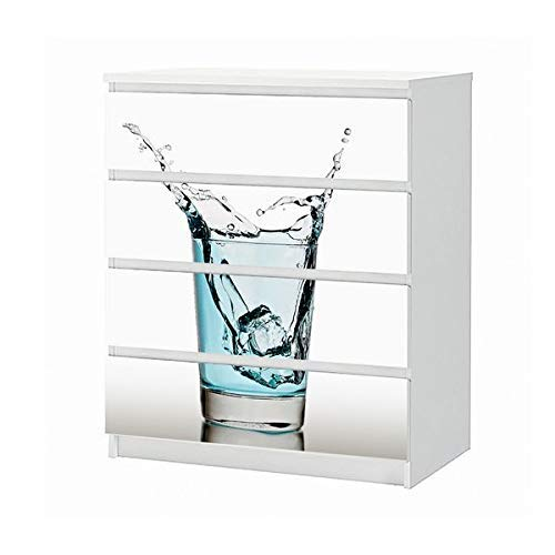 Set Möbelaufkleber für Ikea Kommode MALM 4 Fächer/Schubladen Glas Wasser Eis Würfel Tropfen Küche Aufkleber Möbelfolie sticker (Ohne Möbel) Folie 25B114 -