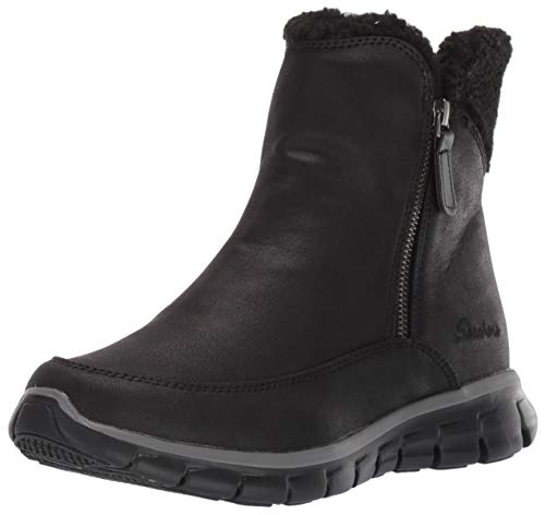 Skechers Women's SYNERGY Ankle Boots, Black (Black Micro Leather/Faux Sherpa BBK), 6 (39 EU)