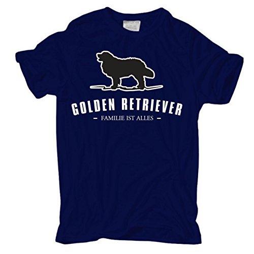 Männer und Herren T-Shirt Golden Retriever - Familie ist alles Größe S - 8XL Dunkelblau