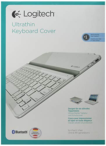 Logitech Ultrathin Magnetic Clip-On Keyboard Cover für iPad 4/ iPad 3/ iPad 2 (kabellose Bluetooth-Tastatur und Halterung, deutsches Tastaturlayout QWERTZ) weiß (Ipad Ultrathin Für Keyboard Cover)