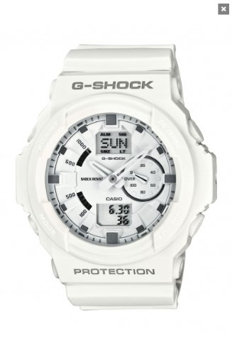 CASIO G-SHOCK Men's Quartz Watch with White Dial Analogue/Digital display and White Resin Strap GA-150-7AER