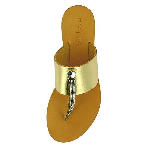 GRETA Damen Sandale Kombi Leder Gold