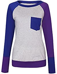 SODIAL(R) Casual t shirt women long sleeve Pocket Three Color Patchwork Fitness Tops Femme T-Shirt Pullovers shirt woman(PINK,S/US~4/UK~8)