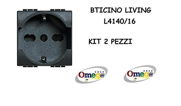 BTICINO L4140//16 LIVING INTERNATIONAL PRESA SCHUKO BIPASSO 16A ORIGINALE BTICINO