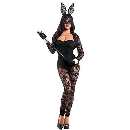 CYYMY Damen Spitze Kaninchen Häschen Mädchen Cosplay Tragen Uniform Lange Ärmel Kostüm Einstellen Anzieh Teddy Dessous Kostüm Schlafanzug Bunny Girl