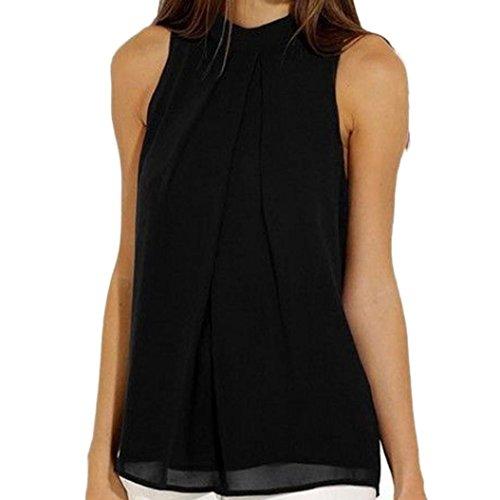 Sannysis Damen Chiffon Bluse Ärmellos T-Shirt Sommer Bluse Tops (XL, Schwarz) (Schwarze Ärmellose Bluse)