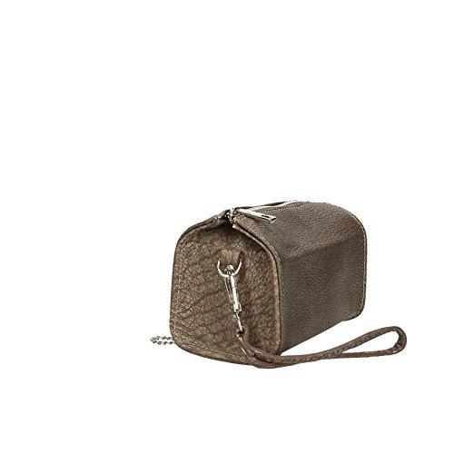 Chicca Borse Borsetta Clutch Pochette da Donna a Tracolla in Vera Pelle Made in Italy - 18x10x10 Cm Marrone scuro
