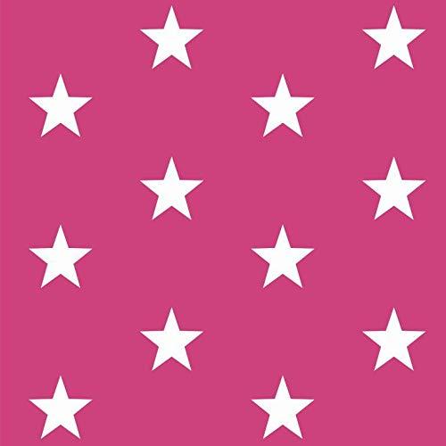 Baumwollstoff Sterne Pink Webware Meterware Popeline OEKOTEX 150cm breit - Ab 0,5 Meter