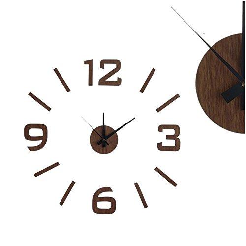 reloj de pared adhesivo madera oscura