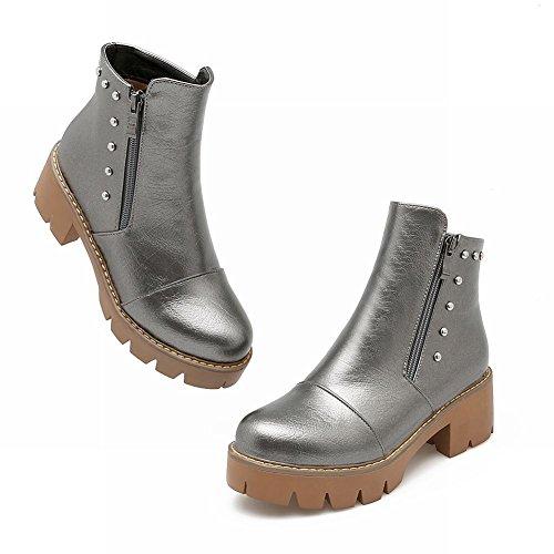 Mee Shoes Damen chunky heels runde langschaft Reißverschluss Stiefel (35, Weinrot)