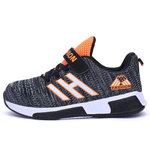 Hallenschuhe Kinder Turnschuhe Jungen Sport Schuhe Mädchen Kinderschuhe Sneaker Outdoor Laufschuhe für Unisex-Kinder (CN35=EU34, 861-Schwarz grau)
