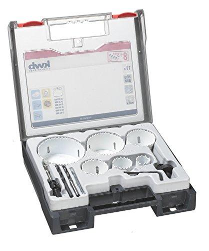 kwb 8 tlg. Lochsägen-Set mit Vario Zahnung, zusätzlich mit je einem 6 mm Holz-Bohrer, Metall-Bohrer & Glas-Bohrer
