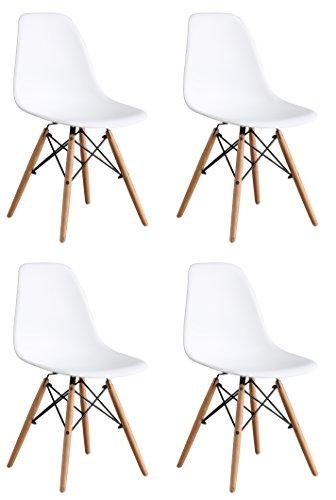 OYE HOYE Set von 2/4Moderne Elegante und Moderne Designer Esstisch/Lounge Kunststoff Stuhl, strapazierfähig, Bequem, Holz, weiß, 4-Pack - Kunststoff-stuhl Moderner