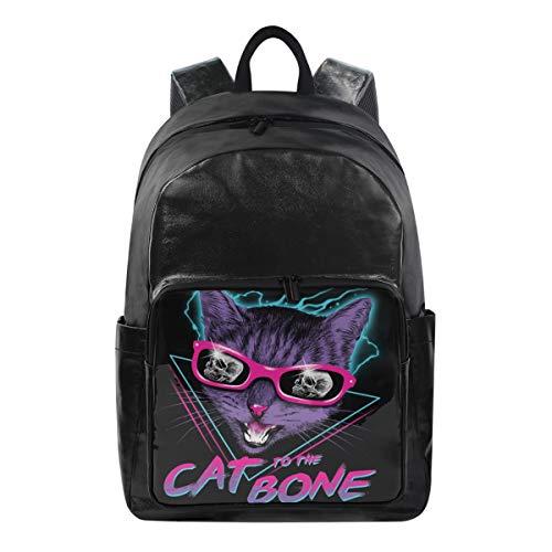 Studenten-Rucksäcke für Schule, Buchtasche, Reisen, Wandern, Camping, Tagesrucksack für Jungen und Mädchen, 31,8 x 22,9 x 44,5 cm, hält 31,8 cm Laptop (Katze bis den Knochen) -