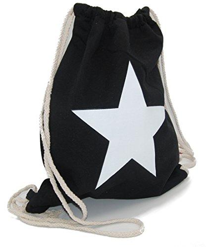 Turnbeutel Sterne Gym Bag Hipster Rucksack Sport Beutel mit Schwarz Weiß Stern