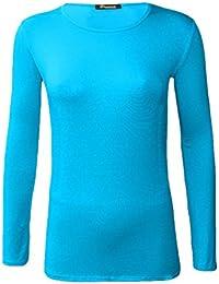 9547bfe706128 Z H Ladies Womens Plain Long Sleeve Round Neck Top Basic T Shirt Layering Plus  Sizes UK