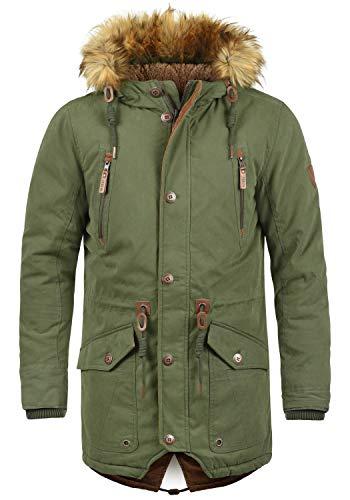 !Solid Vidage Herren Parka Lange Winterjacke mit Kapuze und Kunstfellkragen aus Hochwertiger Baumwollmischung, Größe:M, Farbe:Ivy Green (3797)