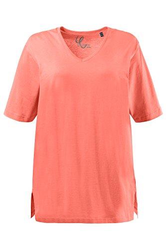 Ulla Popken Große Größen Damen T-Shirt, V-Ausschnitt helles orange