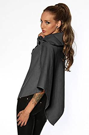 Silamoda - Femme - Poncho fashion avec laine - Gris - Unique
