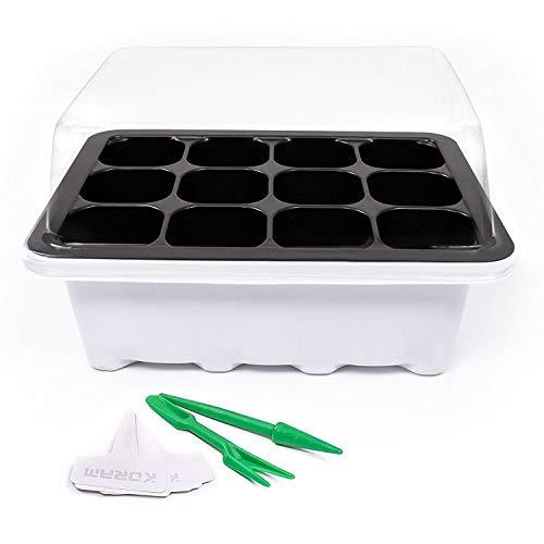 KORAM 10 Satz Seed Tray Seedling Starter Trays Pflanzen Wachsen Starting Keimung Kit Gewächshaus Wachsen Trays mit Dome und Base 120 Zellen, Pflanzen Tags (10 Schalen, je 12 Zellen) für Sämling, Blume, Garten