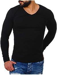 dc478d7e6e96 Young Rich Herren Longsleeve tiefer V-Ausschnitt Langarm Shirt einfarbig  Slimfit mit Stretchanteilen Uni Basic deep