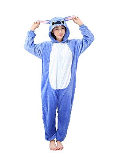 Yimidear® Hot Unisex Adult Pyjamas Cosplay Tier Onesie Nachtwäsche Nachtwäsche (M, Blue (Stitch Und Lilo Kostüm)
