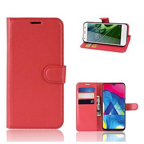 Ronsem Xiaomi Mi8 Youth / Mi8 Lite Hülle PU Leder Wallet Schutzhülle mit Kartenschlitz Flip Handyhülle für Xiaomi Mi8 Youth / Mi8 Lite - Rote