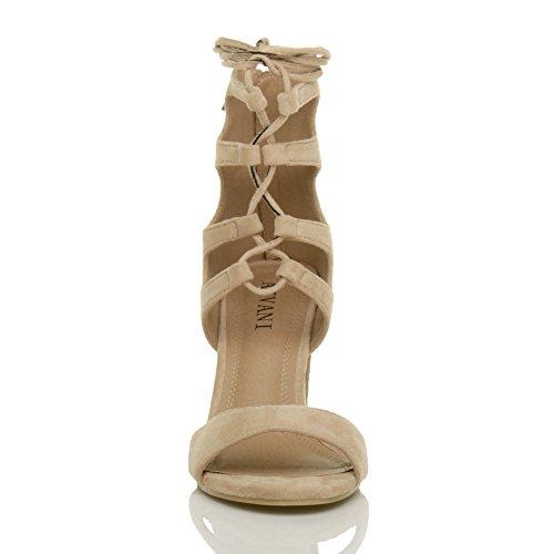 Damen Hohe Absatz Ausgeschnitten Schnür-Pumps Peep Toe Schuhe Sandalen Größe Beige Wildleder