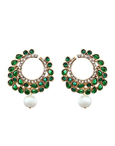 Zaveri Pearls Pearl Dangle & Drop Earring For Women Green - Zpfk836