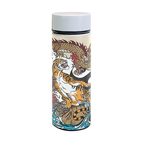 ZZKKO Dragon Tiger - Botella de Agua de Acero Inoxidable, Doble Pared, Aislante al vacío, Taza de Viaje sin BPA