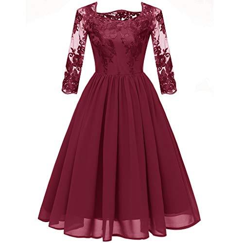 Metallic-spitze-kleid (MAYOGO Kleid Damen Elegant Vintage 50er Spitze Kleid mit Tüll Langarm Cocktail Party Rockabill Kleider Abendkleid)