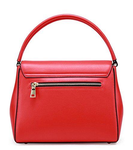 XinMaoYuan Herbst Und Winter Die Farbe Der Schulter Messenger Bag Reine Farbe Querschnitt Gedecktes Leder Handtasche Rot