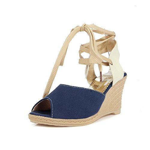 VogueZone009 Donna Allacciare Finta Pelle Scamosciata Tacco Alto Punta Aperta Heeled-Sandals Azzurro