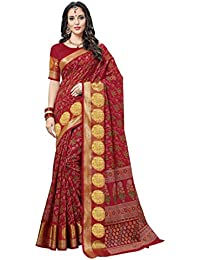 Aarti Apparels Women's Designer Cotton Saree_Red_CRYSTAL-6204