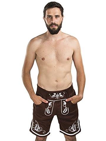 Herren Adam Jogging Lederhose - Jogginghose Sporthose bestickt - Trachtenhose Oktoberfest - Schöneberger Fitness Trachtenlederhose (S,