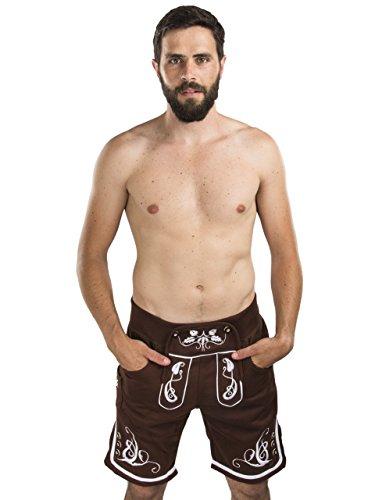 Herren Adam Jogging Lederhose - Jogginghose Sporthose bestickt - Trachtenhose Oktoberfest - Schöneberger Fitness Trachtenlederhose (S, Braun) (Jogginghose Braune)